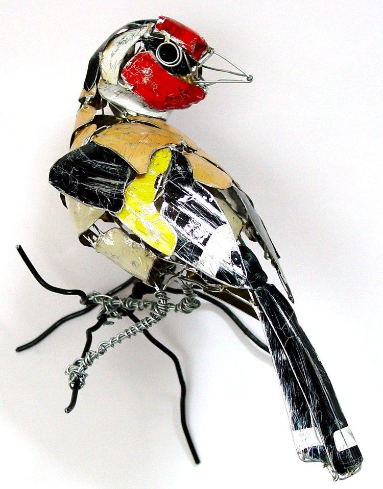 recycled sculptures goldfinch