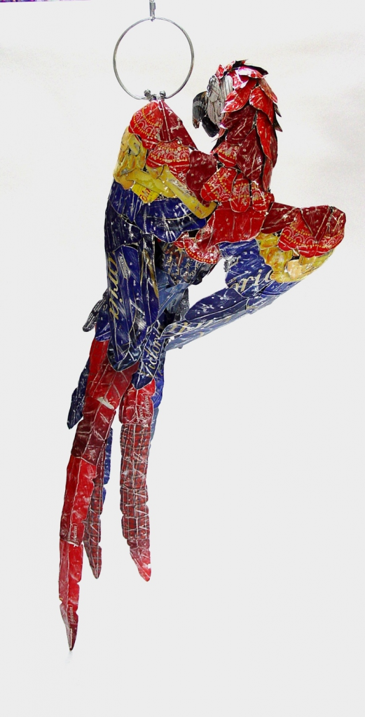 recycled sculptures macaw