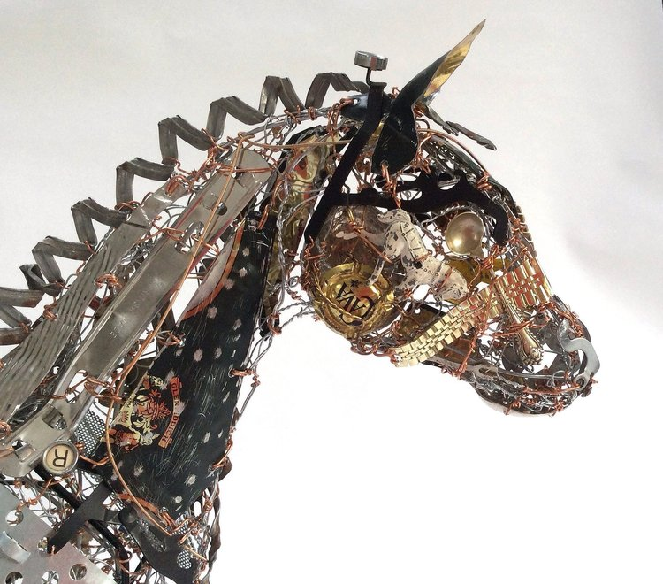 recycled sculptures Carriage Horse