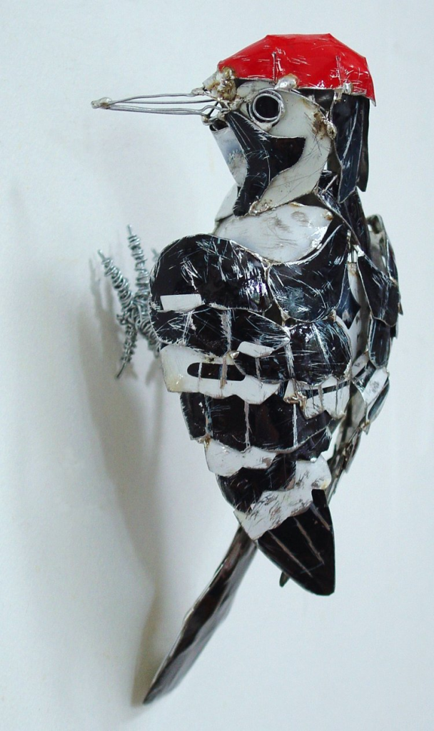 recycled sculptures Woodpecker