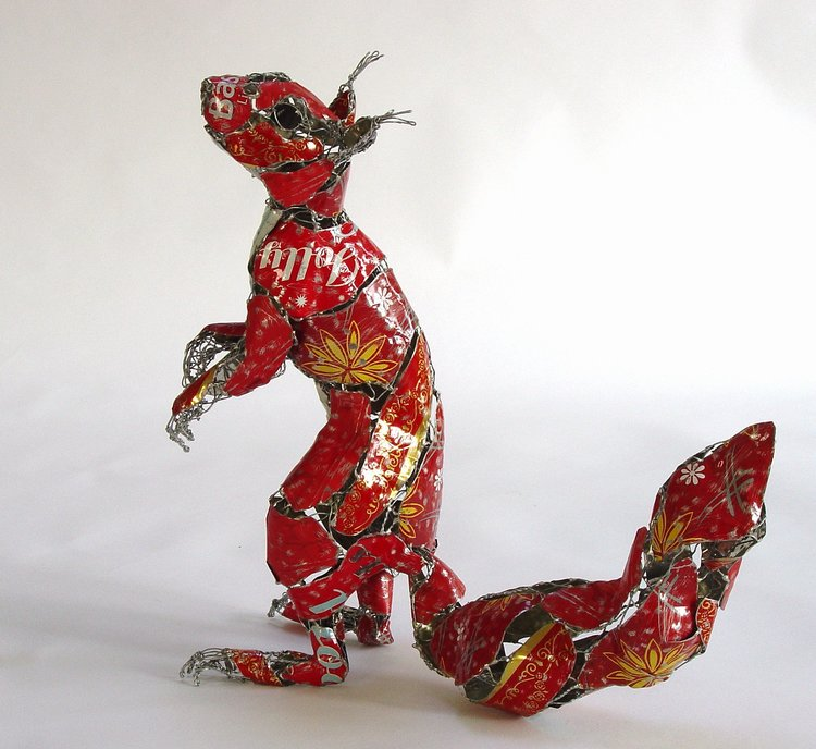 recycled sculptures squirrels
