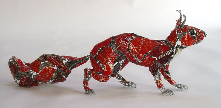recycled sculptures squirrel
