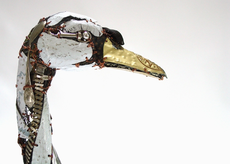 recycled sculptures white swan