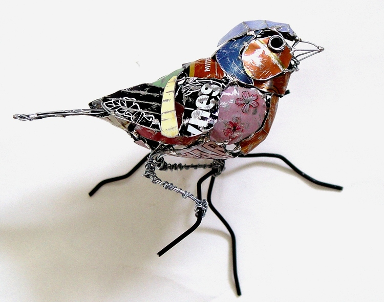 recycled sculptures chaffinch