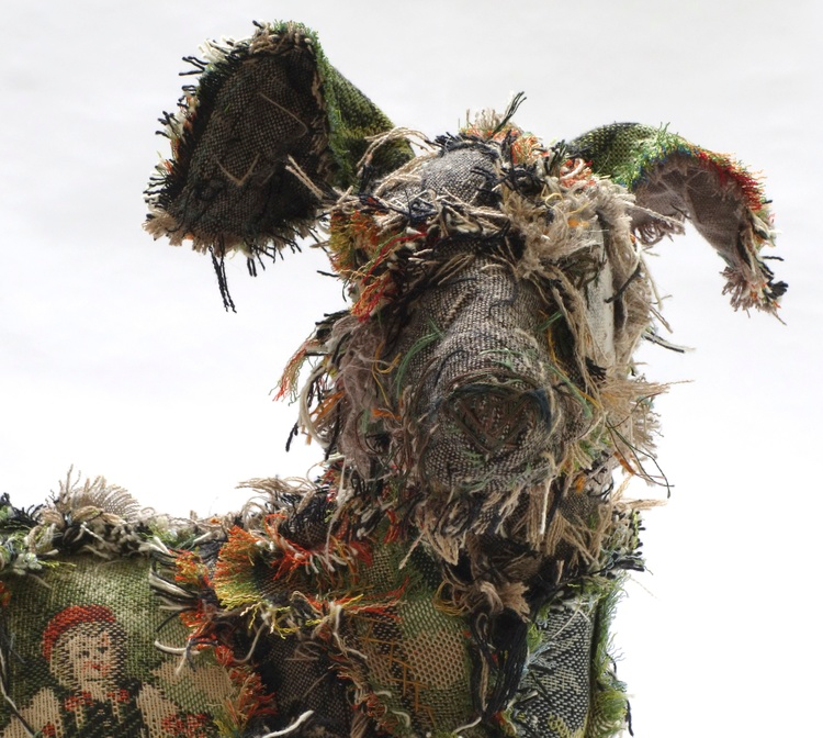 recycled sculptures dog