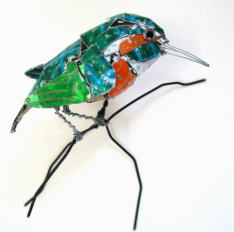 recycled sculptures kingfisher