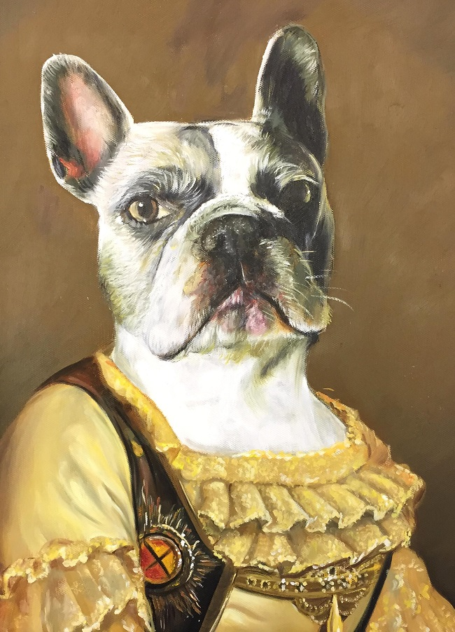 oil painting dog