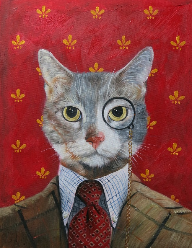 oil painting cat