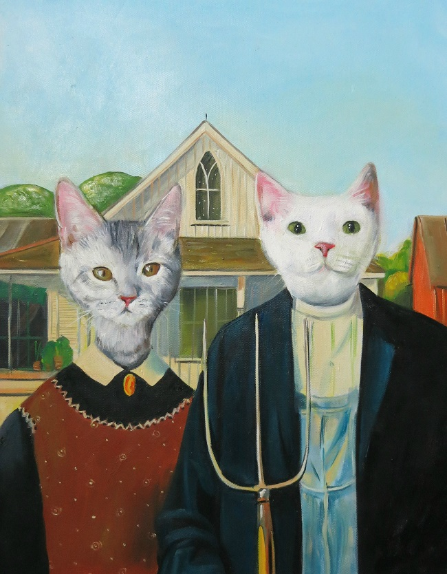 oil painting cats