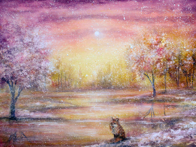 vibrant-nature-paintings-winter_fox